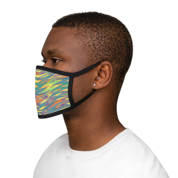 A Yellow Blended Wavy Design Mixed-Fabric Face Mask