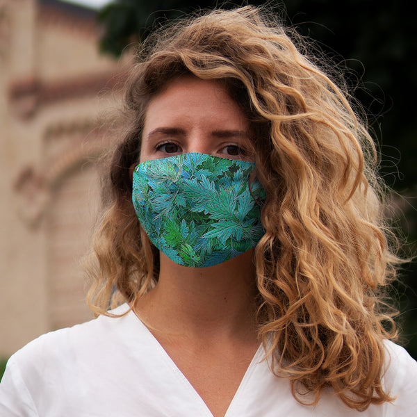 A Green Aqua leaves Snug-Fit Polyester Face Mask