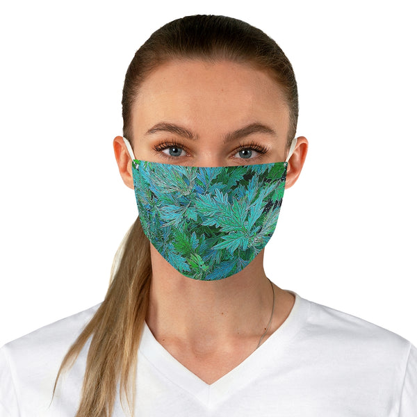 A Green, Aqua Leafy Art Fabric Face Mask