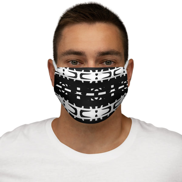 A Black and White graphic pattern Snug-Fit Polyester Face Mask