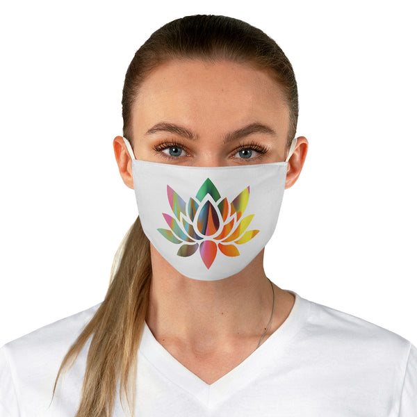 A Lotus Flower on white Fabric Face Mask