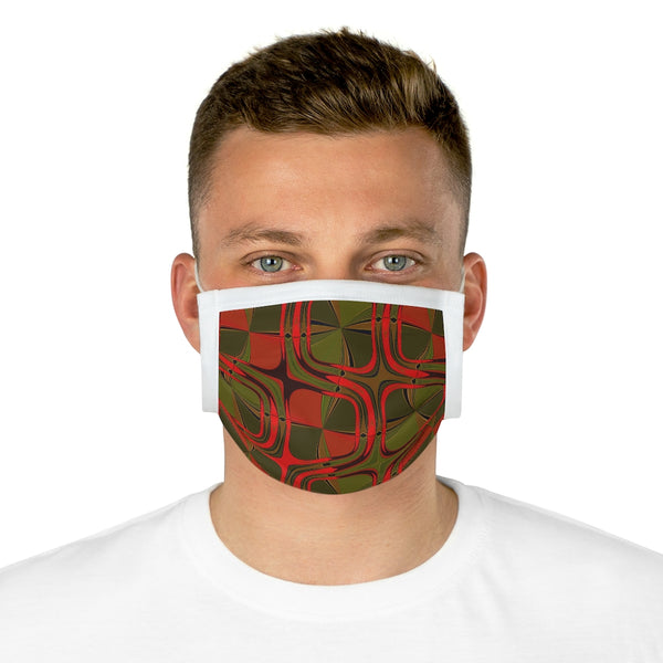A Red Green Geometric Design Cotton Face Mask (EU)