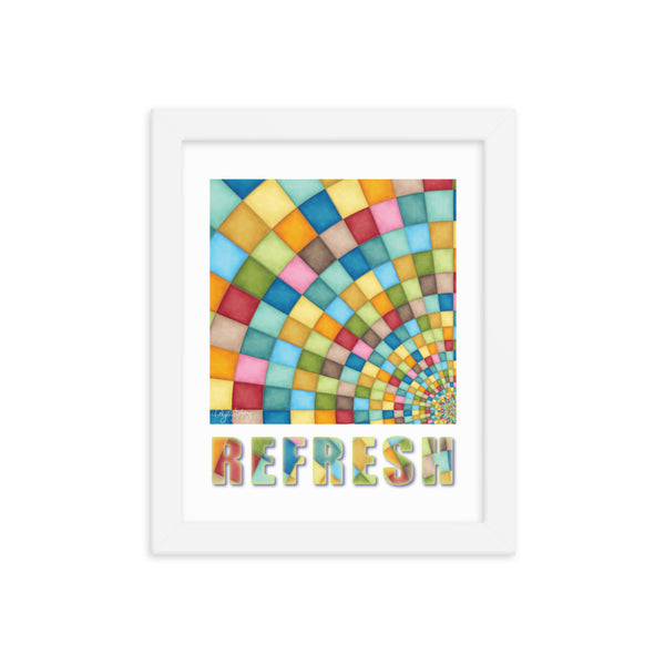 Refresh, Framed, Abstract, Healing Arts Poster