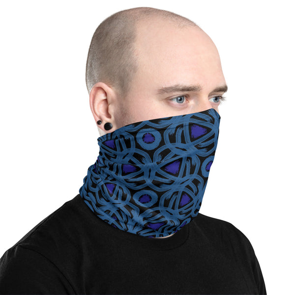 Two Blues Abstract Neck Gaiter