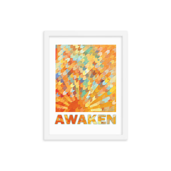 Awaken Framed Yellow and Orange Sunburst Abstract poster