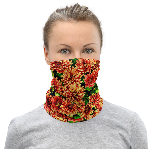 Yellow Red Small Flower -Neck Gaiter
