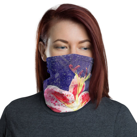 Pink Flower on Blue, Neck Gaiter