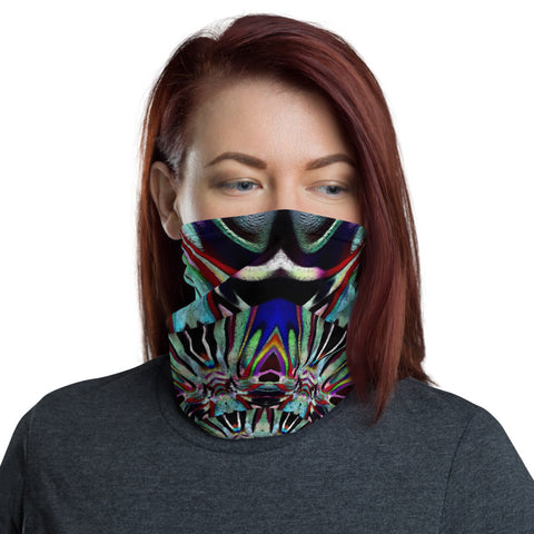 Symmetrical, black, aqua abstract -Neck Gaiter