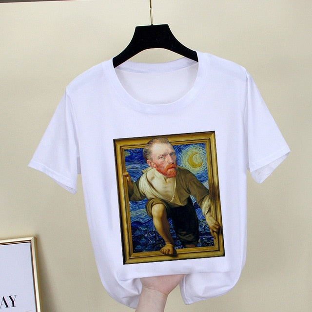 Mona Lisa T shirt Women spoof personality fashion Tshirt summer 2019 Harajuku aesthetics Short Sleeve White Tops Female T-shirt