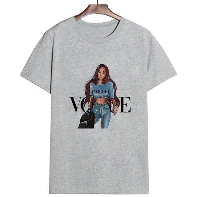 New Arrivals Fashion VOGUE Printed T shirt Women Harajuku Trend Style O-Neck T-Shirts Summer Short Sleeve Casual TShirt Tops
