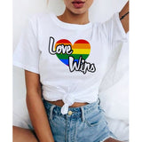 lgbt t shirt Love Wins female bisexual lesbian gay love is love women lesbian rainbow top t-shirt tshirt tee kawaii femme shirts