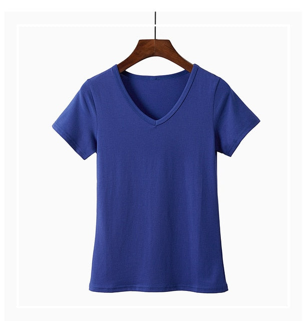 2019 New Style Women Basic Tshirt Cotton 5XL Plus Size T-shirt Summer Casual Elastic T shirts Female Plain Short Sleeve Tops Tee