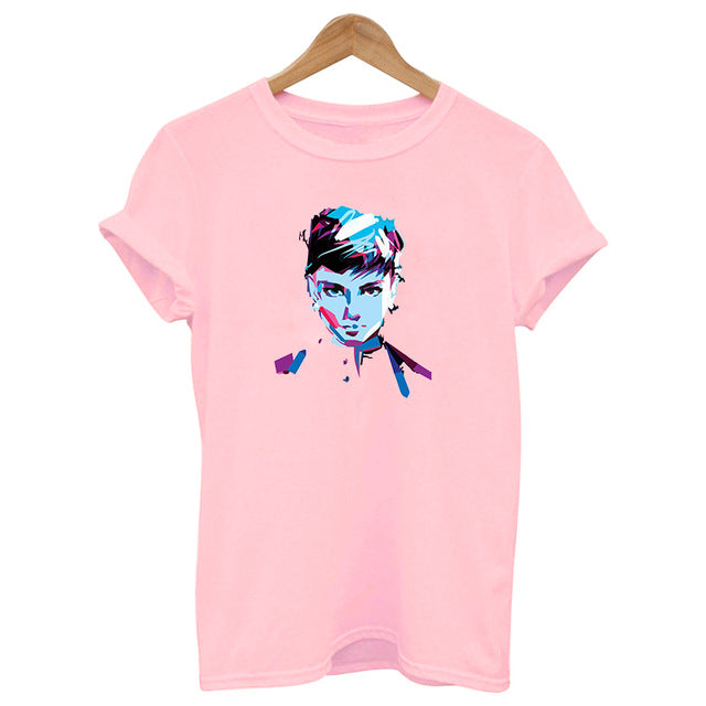 2019 new summer hepburn queen pink print t shirts women cotton Short sleeve top graphic Fashion casual female clothes Harajuku