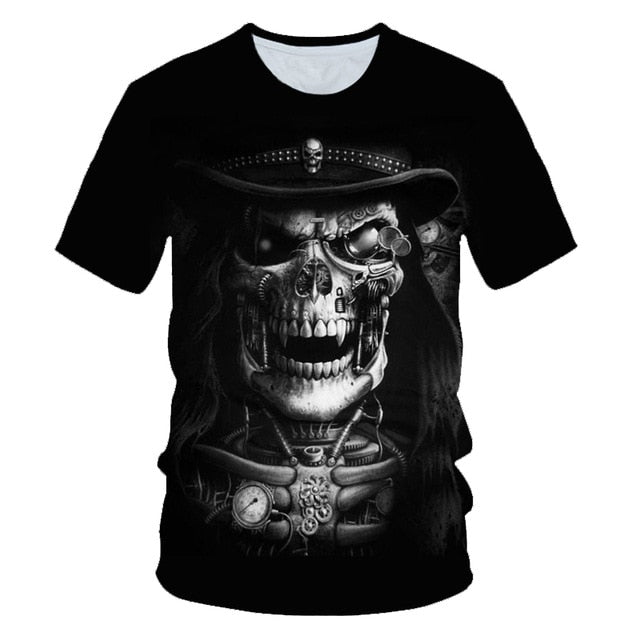 Skull Poker Funny Cool 3D t shirts Mens Motorcycle Punk 3D Printed T shirt Men Clothes tshirt Summer Top Homme Hipster Pop Shirt
