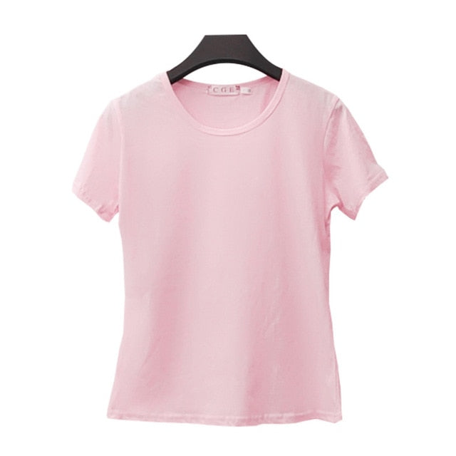 Vana Javeasen Simple Tops T-shirt For Women Korea Casual T-shirt Black White Tees For Women Clothes T Shirt Loose Tops Summer
