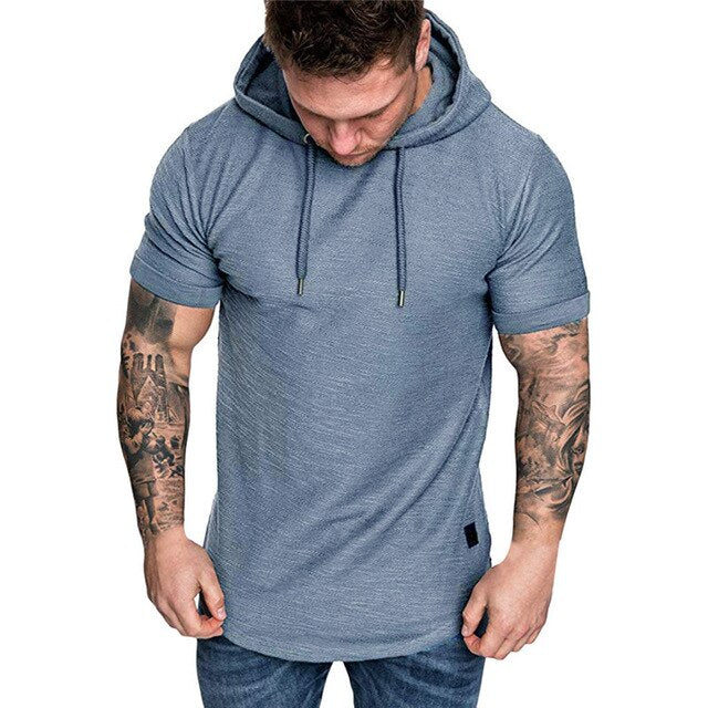 T Shirt Hoodie Slim Fit Casual Short Sleeve T Shirt Men 2019 Sport Summer Spring Large Size Casual Men's T-shirt Tops Tee 19APR2