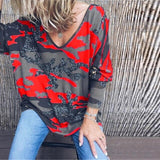 Taniafa 2019 New Fashion Women V Neck Long Sleeve T Shirts Casual Autumn Camouflage Print Loose Tops Shirts Plus Size