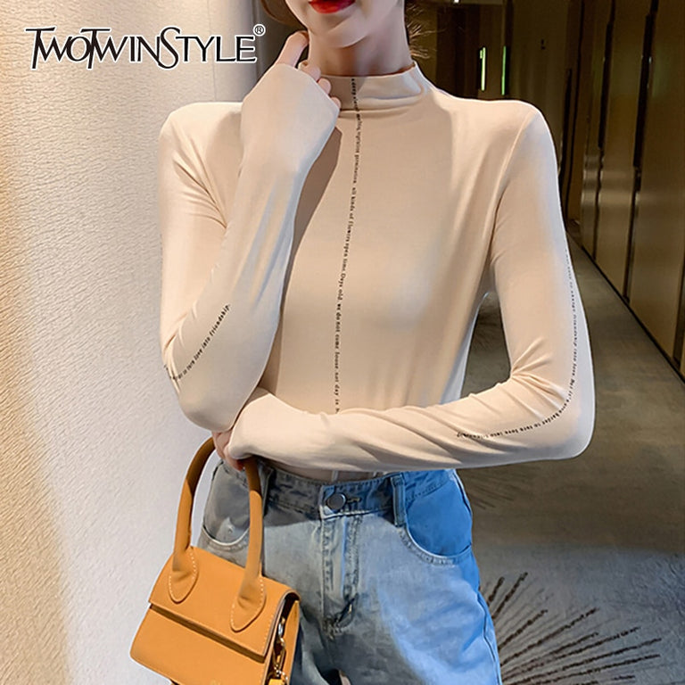 TWOTWINSTYLE Minimalist Women's T Shirt Turtleneck Slim Less Is More Korean Shirts For Women 2019 Autumn Large Size Fashion New