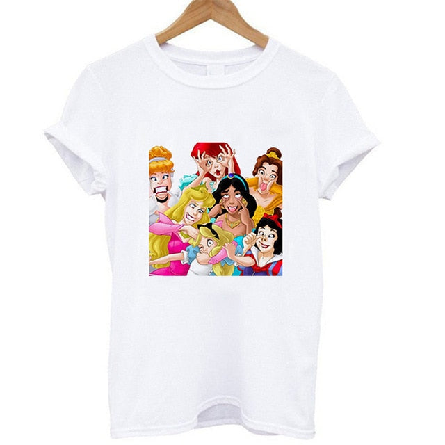 Summer Vogue Princess Belle Snow White Ariel Jasmine Alice Cinderella Aurora T-shirt Casual Tops T Shirt for Women Lady Girls