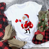 New kawaii reindeer t shirt women fashion Christmas Harajuku Short Sleeve t-shirt White Suitable all seasons Tshirt Tops clothes