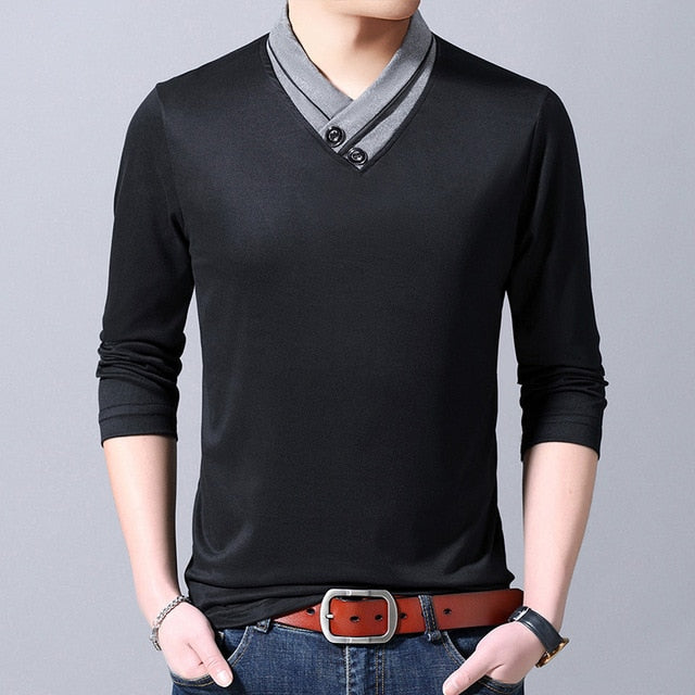 2019 New Fashion Brand T Shirt Mens V Neck Street Wear Tops Trends Black Slim Fit Cool Korean Long Sleeve Tshirts Men Clothes
