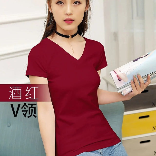 MRMT 2019 Brand New Womens 95% Cotton T-Shirt Pure Color Short Sleeve Women T shirt For Female Slim Tops Woman T shirts Clothing