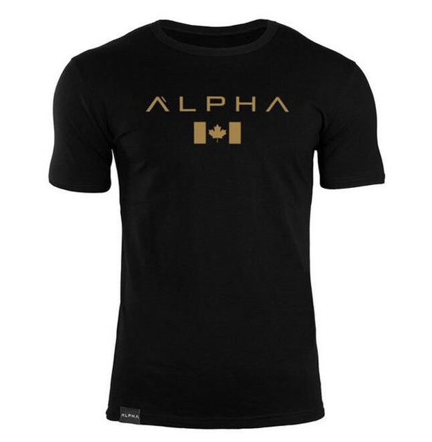 ALPHA 2018 New Brand clothing Gyms Tight t-shirt mens fitness t-shirt homme Gyms t shirt men fitness Summer tops