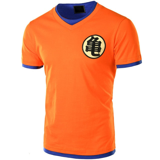 Dragon Ball T Shirt Men Short Sleeve Orange V Neck Dragon Ball Z Mens Cosplay Tee Shirts Casual Tops Ultra Instinct Master Goku