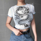 Weekeep Sexy Cropped Perspective Mesh Top t shirt Women White Dragon Print O-neck Bodycon tshirt Summer Fashion Crop Top 2019
