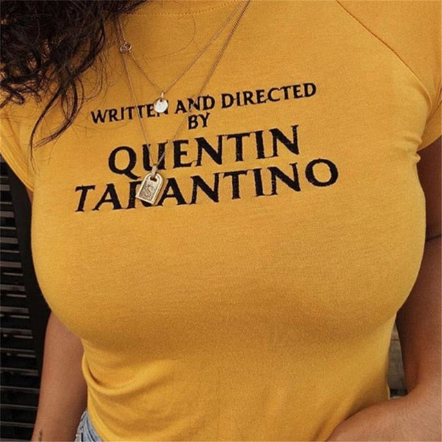 Short Sleeve Cotton T Shirt Women Crop Tops Quentin Tarantino Sexy Crop Tops Woman Yellow T-shirt 90s Tees Black White Tshirt