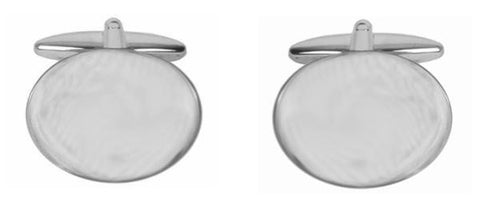 Rhodium Plated Plain Oval Cufflinks