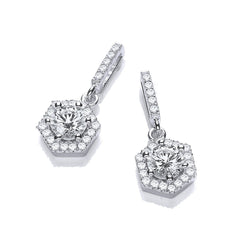 DiamonDust Swarovski Zirconia Hexagonal Drop Earrings