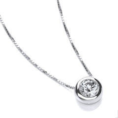 DiamonDust Swarovski Zirconia 7mm Solitaire Pendant Necklace