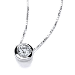 DiamonDust Swarovski Zirconia 9mm Solitaire Necklace