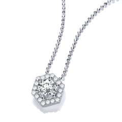 DiamonDust Swarovski Zirconia Hexagonal Pendant Necklace
