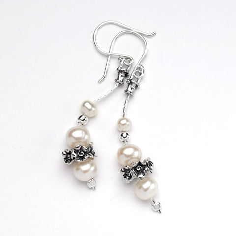 Silver Rosette and Freshwater Pearl Drop Earrings
