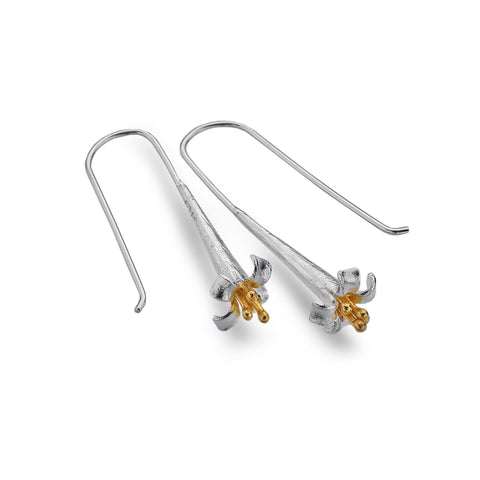 Sea Gems Silver Flower Drop Earrings