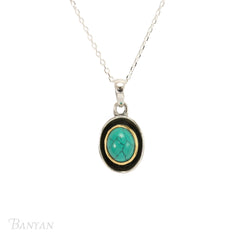 Classical Silver and Gold Plated Turquoise Pendant Necklace