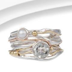 Green Amethyst and Pearl Silver Ring