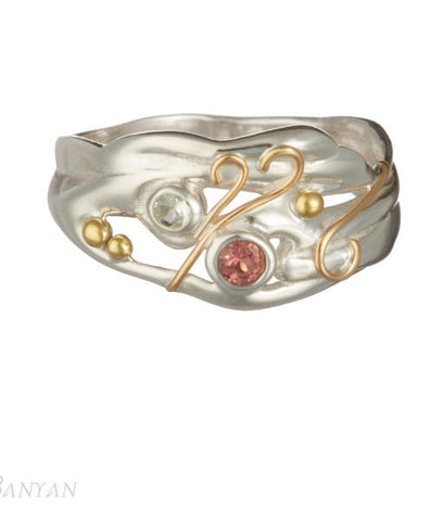 Pink Tourmaline and Blue Topaz Silver Ring