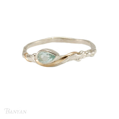 Pear-drop Blue Topaz and Silver Ring
