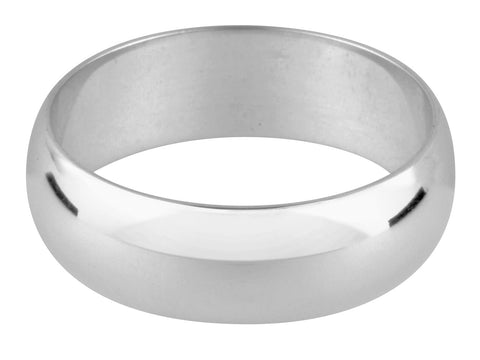 9ct White Gold 4mm D-Shaped Wedding Ring