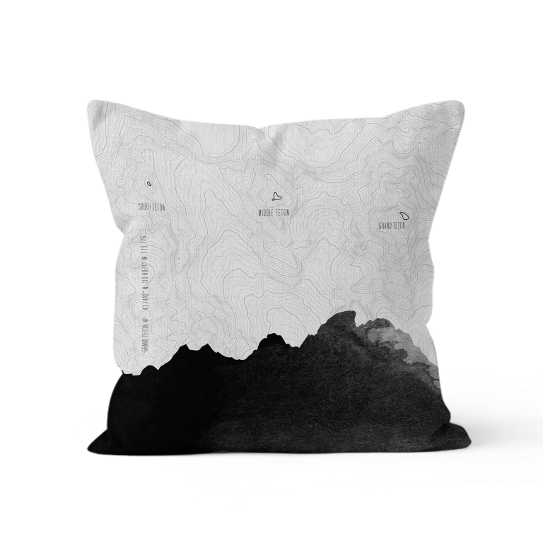 Topo Map of The Tetons in Black + White. Throw Pillow of Grand Teton NP.