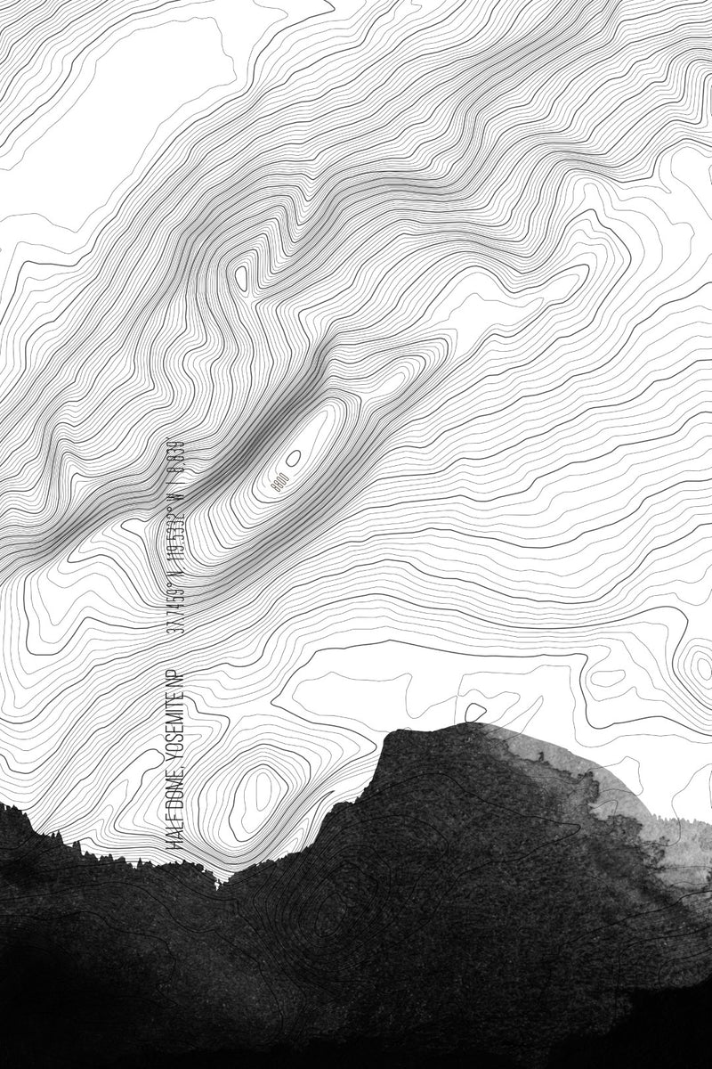 Yosemite Half Dome Topo in Gray | US National Parks