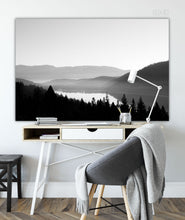 Load image into Gallery viewer, Forex Foam Print | The Black and White: Donner Lake Fog - Lemonee on the Hills