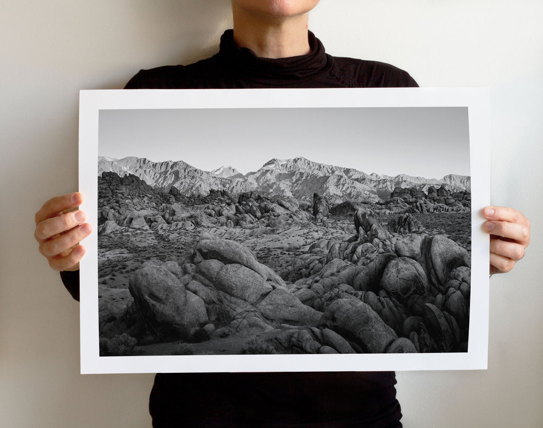 Matte Print | Black and White: Alabama Hills 3894 - Lemonee on the Hills