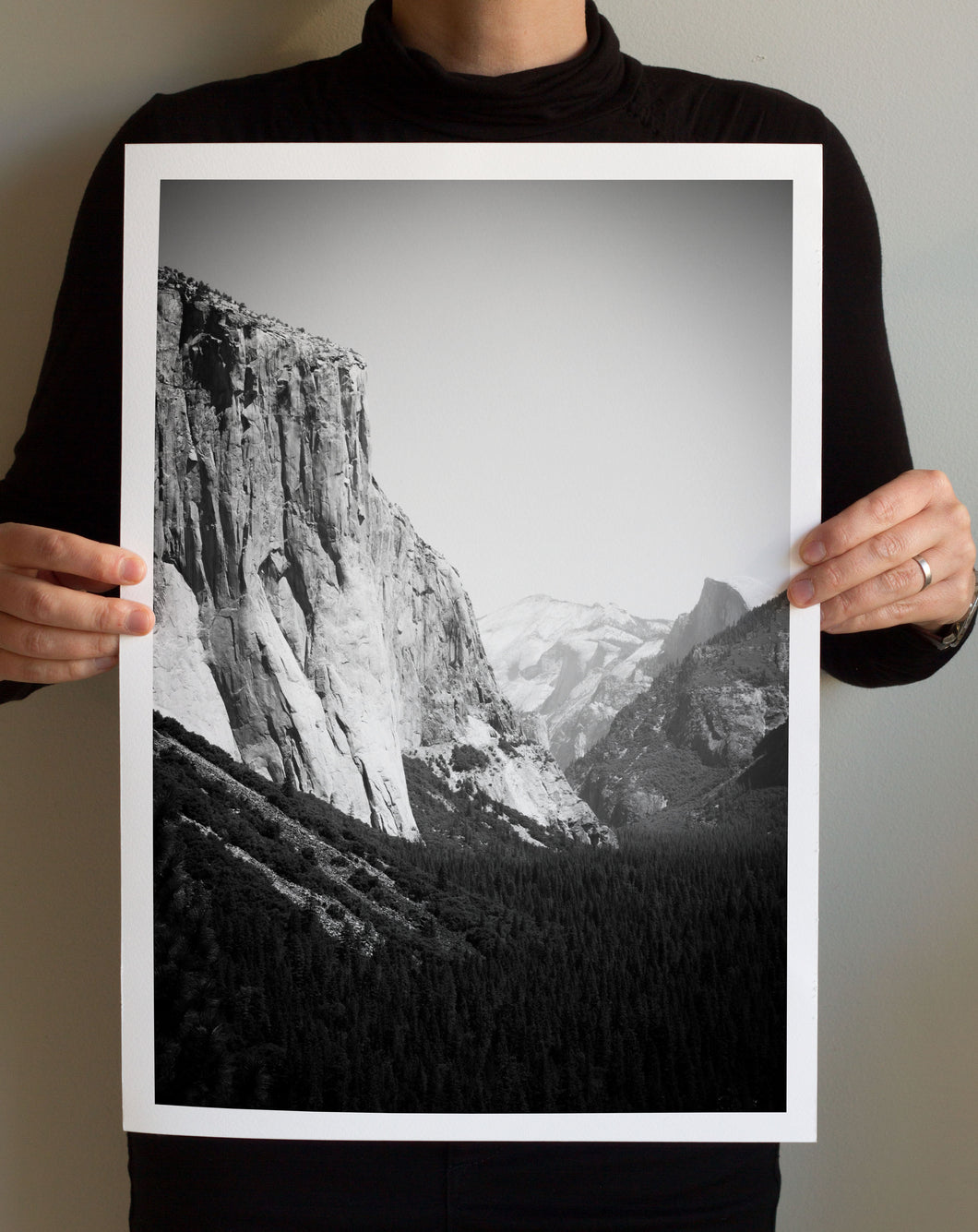 Matte Print | Black and White: El Capitan Yosemite 8384 - Lemonee on the Hills