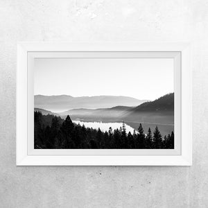 Matte Print | Black and White: Donner Lake Fog - Lemonee on the Hills