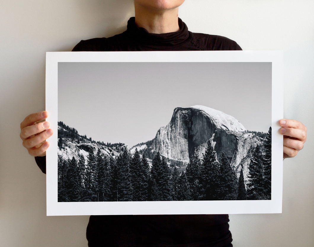 Matte Print | Black and White: Yosemite Half Dome Close Up - Lemonee on the Hills