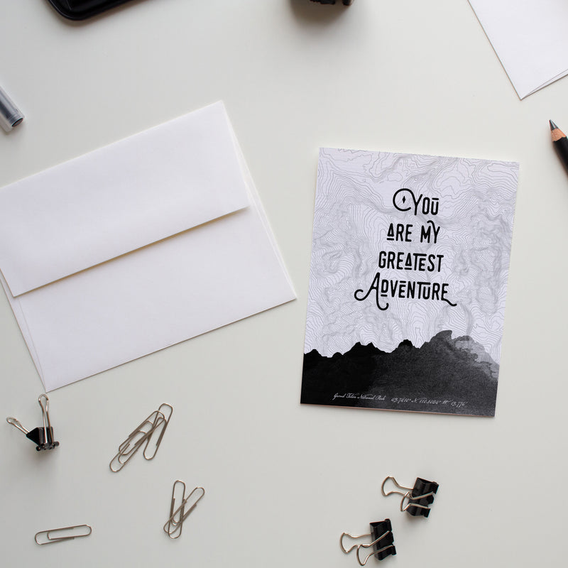 Valentine's Day flat card You Are My Greatest Adventure (Black)